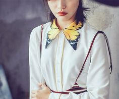Fine Art Collection gorgeous white Shirt with beautiful butterfly collar for unique daywear fashion or add that chic, eclectic look to your work wardrobe for the office style inspiration from Alice summer by PurpleFishBowl Look Fashion, Fashion Details, Diy Fashion, Ideias Fashion, Fashion Outfits, Fashion Design, Womens Fashion, Fashion Ideas, Ladies Fashion