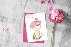 Baby shower card, hand-painted card, bird card, it's a girl card
