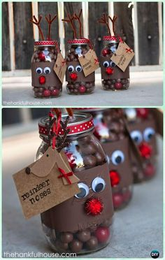DIY Reindeer Noses Mason Jars Gifts Instructions - DIY Mason Jar Christmas Gift Wrapping Ideas DIY Mason Jar Christmas Gift Wrapping Ideas Instructions: creative ways to wrap Christmas gifts in the Jar, with paint, hand-print, fabric, crochet. Mason Jar Christmas Gifts, Mason Jar Gifts, Homemade Christmas Gifts, Christmas Gift Wrapping, Mason Jar Diy, Christmas Crafts, Christmas Decorations, Gift For Christmas, Christmas Stall Ideas