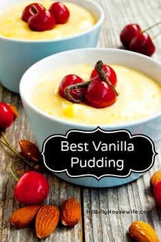My Best Vanilla Pudding Recipe | Hillbilly Housewife. Sometimes the simplest thing is the best and you an dress this simple vanilla pudding up any way you like. Top with some cherries and almonds for a festive dessert, or serve it plain for an easy weeknight treat.