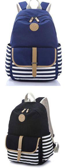 4b7d98634c10 New Striped Large School Bag Travel Bag Stripe College Canvas Backpack