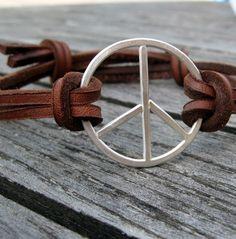 Sterling Peace sign on leather bracelet for men or women