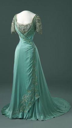 Mint lace wrap dress c1900s