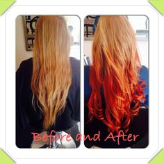 Reverse ombre. Strawberry blonde to copper red. Love!!!! My sister is a rock star!!!