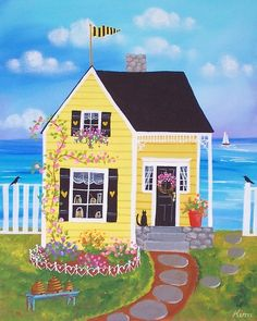 """Honey Bee Cottage"" by KimsCottageArt on Etsy"