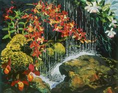 detail of Water Curtain with Orchids by Amanda Richardson - click to return
