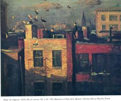 John French Sloan (American 1871–1951) [Ashcan School, The Eight] Pigeons, 1910.