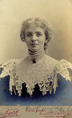 """Maude Adams (November 11, 1872 – July 17, 1953), American stage actress best known for her role as Peter Pan, and the inspiration for the character of Elise McKenna in """"Somewhere in Time""""."""