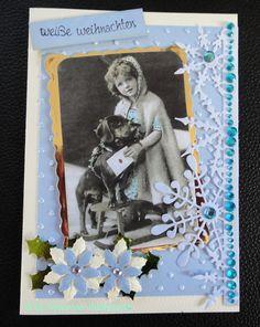Nostalgische Weihnachtskarte,  Mädchen mit Hund und Schlitten Cover, Frame, Handmade, Decor, Sled, Xmas Cards, Easter Activities, Pet Dogs, Picture Frame