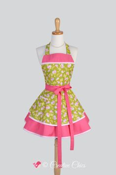 Ruffled Retro Apron / Butterflies Dainty Pink Flower Bouquets on Lime Green in t Cute Reto Full Kitchen Apron Personalize or Monogram by CreativeChics on Etsy