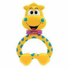 "Baby Rattle, Giraffe Teething by Chicco. $7.99. This is a 5"" teether rattle.. For babies from 3 to 24 months. Develops baby's corrdination and senses. The giraffe's head turns making a fun sound. Ideal as a baby's first teether.. Light and easy to grasp, ideal as a baby's first teether.. Fun colorful jungle friend to help baby develop coordination and stimulate their senses with manual activities, textures and sounds. The giraffe's head turns making a fun sound. Ideal ..."