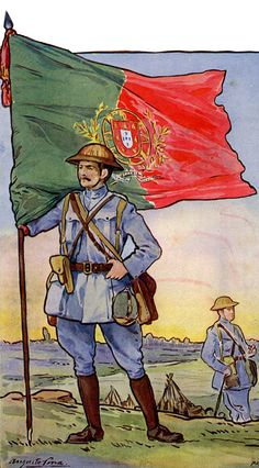 Infantry Officer with Portuguese Army Flag -