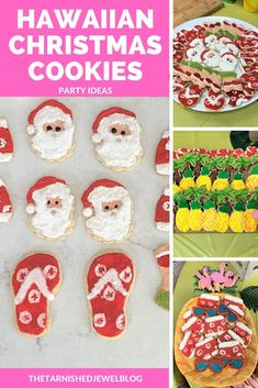 Want to try fun a cookie idea for your tropical Christmas celebration? Check out Hawaiian Christmas Cookies: Party Ideas by thetarnishedjewelblog.com #christmascookies #christmascookieideas #hawaiianchristmaspartyideas #hawaiianchristmasfoodideas #hawaiianchristmascookies #tropicalcookieideas #hawaiianpartyfoodideas Teacher Luncheon Ideas, Teacher Party, Tropical Christmas, Simple Christmas, Christmas Diy, Wall Christmas Tree, Christmas Staircase, Santa Cookies, Christmas Cookies