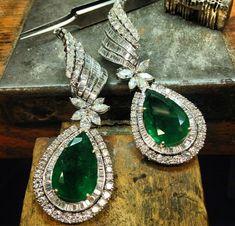 Emerald and diamond earrings ~ Instagram