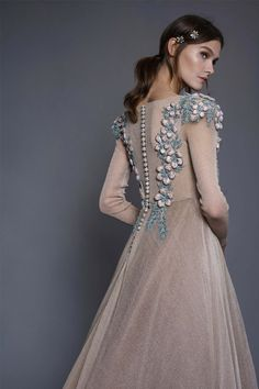 An elegant iridescent long sleeve gown with unique hand embroidered floral motifs. Wedding Robe, Wedding Dress Chiffon, Evening Dresses, Prom Dresses, Wedding Dresses, Couture Dresses, Fashion Dresses, Bridal Dupatta, Gowns With Sleeves