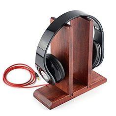Red Wooden Headphones Stand / Wood Headset Holder / Desk Display Hanger, Fit Audio-Technica, Bose, AKG, Beats Studio, Solo, Wireless, Pro, Panasonic, Sony, Sennheiser, Parrot Zik, Logitech DJ, Professional Gaming Headset and Many Earphones