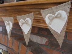 Wedding garland burlap banner with cream felt hearts rustic wedding decoration Valentines garland. $26.00, via Etsy.