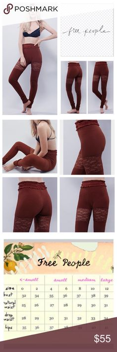 "🆕Free People Waffles For Breakfast Leggings. NWOT 🆕 Free People Dark Rust Waffles For Breakfast Jogger Leggings, 57% cotton, 38% polyester, 5% spandex, machine washable, 30"" elasticized waist which stretches up to 38"", 10.5"" front rise, 13"" back rise, 34"" inseam, slouchy, soft joggers in a slightly stretchy waffle fabric with a relaxed silhouette, sheer lace insets and ruffle waistband, black line drawn through FP label to prevent return to store, measurements are approx.  New without tag…"