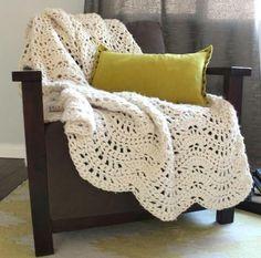 Cozy Feather and Fan Crochet Afghan | AllFreeCrochetAfghanPatterns.com