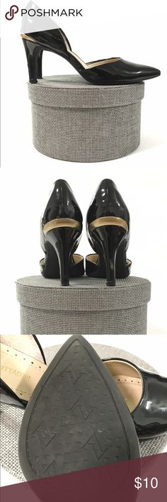 Adrienne Vittadini   Pumps   Size 7 **READ** Adrienne Vittadini black Leather Pumps Womens  Size 7. The shoes are still in good wearable condition however the right shoe does have a rip in the back and the tip is  loose but can easily be put back in with glue . Adrienne Vittadini Shoes Heels