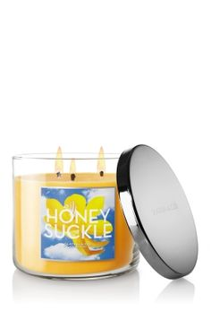 Honeysuckle 3-Wick Candle - Decorate any room in your home with the scent of sweet honeysuckle intertwined with pink peony, freesia and a touch of creamy vanilla. <3  #LUVBBW