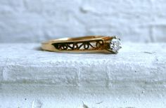 Beautiful Vintage 14K Yellow Gold Diamond Solitaire Engagement Ring - 0.25ct., $395.00
