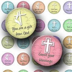 Digital Images Collage Sheet White Crosses Religious Designs Christian God Inspirational One 1 Inch Circles for Pendants Magnets (C115). $3.50, via Etsy.