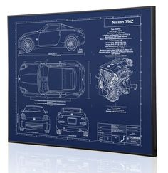 Nissan 350Z Laser Engraved Blueprint Artwork. This piece was done on Blue Anodized Aluminum. Each piece is personalized with owner name, color, vin, and year! www.engravedblueprintart.com