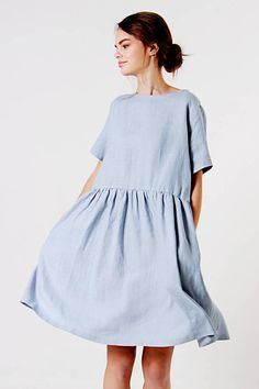 Linen Dress Bluish Grey Linen Dress Ruffle Waist Linen