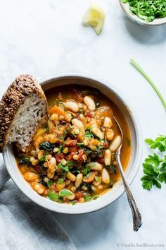 Smoky White Bean Kale and Wheat Berry Stew | Vanilla And Bean #wheatberry #wheat #parfait #healthy #homegrown #Farm #wheatrecipes Cozy Meals, Bean Stew, Food Is Fuel, White Beans, Chana Masala, Soups And Stews, Kale, Vegan Vegetarian, Whole Food Recipes