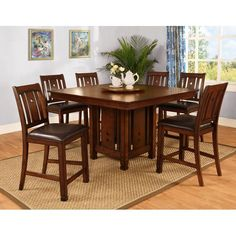 Piece Wood Dining Table Set Person Home Kitchen Table And Chairs - 4 person counter height table