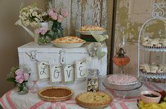 Wedding shower- vintage, shabby-chic-- old fashioned flair with homemade pies