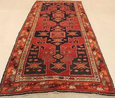 Maison d'enchères en ligne Catawiki: Tapis Heriz persan ancien, 1930, teintes végétales, fabriqué en Iran, 140 × 297 cm
