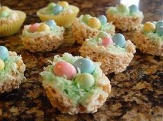 Rice Krispie Spring Treats  Perfect for Easter!  I used to make these on thumb print cookies with my kids!