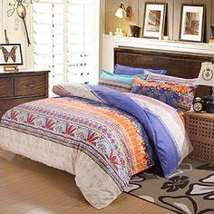 Ttmall 210 Thread Count 4-Piece Bohemian Print Bedding Set, Queen (1 Duvet Cover, 1 Flat Sheet and 2 Pillowcases)