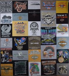 Harley Davidson T-shirt quilt for Birthday gift. I can make a keepsake quilt for you.  Email to:DebbieLangeQuilting@gmail.com. www.DebbieLangeQuilting.blogspot.com Facebook:DebbieLangeQuilting. Pinterest:DebbieLangeQuilting. #MemoryQuilt#tshirtquilt