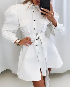 Leg-of-Mutton Sleeve Buttoned Shirt Dress - Women Shoe xyz Classy Outfits, Chic Outfits, Dress Outfits, Casual Dresses, Midi Dresses, Dress Shoes, Hijab Fashion, Fashion Dresses, Fashion Clothes