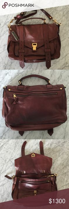 Proenza Schouler Medium PS 1 Oxblood/Gold Great condition, just slight signs of wear. One mark on interior of flap shown in image, doesn't show when worn. Some darkening on back, also shown in photo. Still had tags from barneys attached. Originally bought for $1800. LAST TWO IMAGES FOR SIZE REFERENCE ONLY NOT COLOR. Proenza Schouler Bags Shoulder Bags