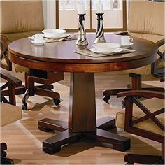 Features: Dark Oak Finish ; Solid Wood composition ; Casual style ; Clean defined edges ; Single pedestal table base ; Round shape ; Smooth finished top that converts to poker table or lifts for bumper pool. ; Pool sticks and balls are included . Specifications: Overall Product Dimensions:... more details available at https://furniture.bestselleroutlets.com/game-recreation-room-furniture/game-tables/product-review-for-bowery-hill-3-in-1-game-table-in-dark-oak/