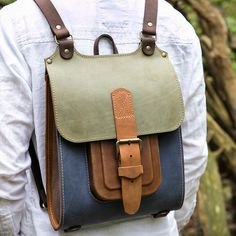 Finest quality leather bag and backpack in one - messenger backpack