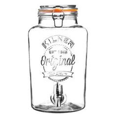 With the Kilner Drink Dispenser, serve any cold beverage in style at your next party. This durable, handmade glass dispenser features a quality chrome plated plastic spigot, glass lid, stainless steel clips and a rubber gasket. Kilner Drinks Dispenser, Glass Dispenser, Top Drinks, Alcoholic Drinks, Beverages, Cocktails, Four Loko, Canning Jars, Mason Jars
