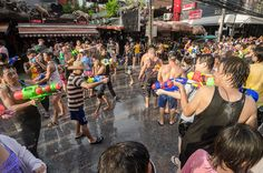 Songkran Water Festival — Chiang Mai, Thailand, throw or squirt water on others to wash away the bad. Thailand New Year, Chiang Mai Thailand, Festivals Around The World, Travel Around The World, Around The Worlds, Cool Places To Visit, Places To Go, Thailand Adventure, Life Adventure