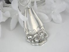 Silverware Jewelry, Spoon Jewelry, Spoon Necklace Pendant, Bridesmaids Gift, Vintage Wedding,  Anniversary - 1909 AMERICAN BEAUTY ROSE