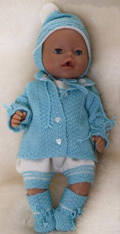 Knitting Dolls Clothes, Knitted Dolls, Doll Clothes, Baby Knitting Patterns, Doll Patterns, Reborn Dolls, Baby Dolls, Baby Born Kleidung, Tricot Baby