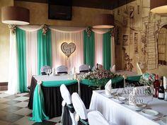 Украшение зала на свадьбу в цвете сине-зеленом с шоколадом
