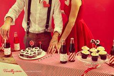 Pin-up wedding, wedding,bride, groom woman, pin up, pin-up, veselky.com, veselky, pin, red, style, dress, flower, wedding flower, hairstyle, 50s, 1950, modern, unusual , couple, photo, image, hat, studio, heart, david severin, jane bond special, love fashion, photo severin, retro, diy, czech republic, simplicity, patern, man, braces, design, czech design, food, decoration, cupcake, wedding table