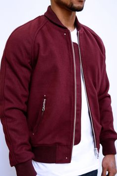 Man. Fashion. Bomber Jacket. White & Red. Modern. Clothing. Street. Simple. Style. Core. Basic. Details. Silver. Zipper. Cool.