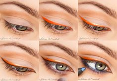 orange gold and blue winged makeup tutorial