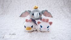 Disney Tsum Tsum amigurumi crochet featuring Dumbo, Daisy Duck, and Marie