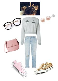 """""""kiddie ✨"""" by angeliqueamor on Polyvore featuring Converse, Chiara Ferragni, Current/Elliott, PearLustre by Imperial and Kate Spade"""